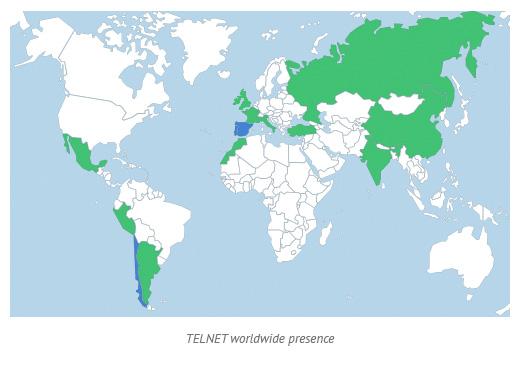 TELNET worldwide presence